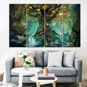 4 Pieces Wall Art HD Print Picture Enchanted Tree Firefly Home Decoration Canvas Painting