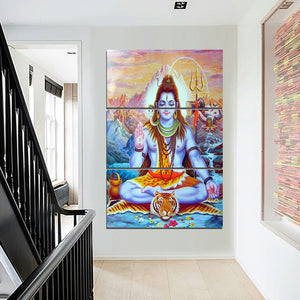 HD Printed 3 Piece Canvas Art Indian Hindu God Lord Shiva Poster Wall Pictures For Living Room Posters