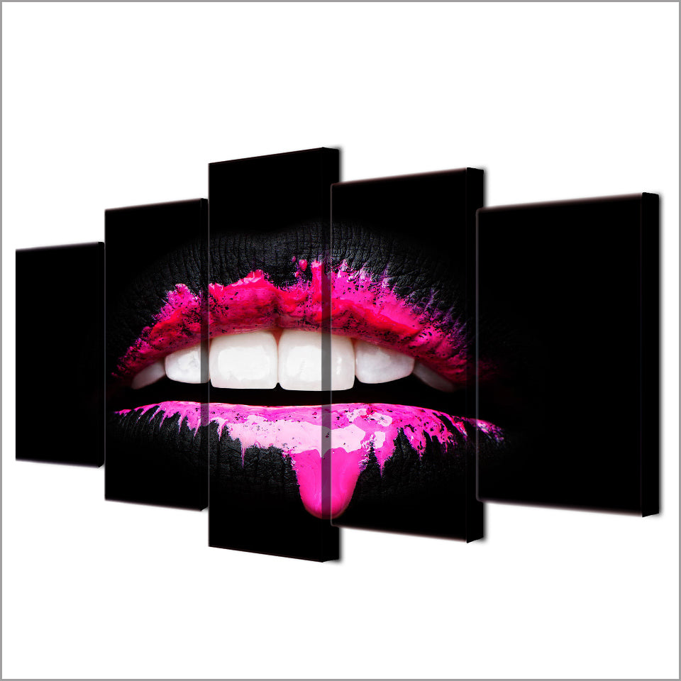 HD 5 Pieces Canvas Paintings Printed Pink Lips Girl Style Wall Art Modular Living Room Bedroom