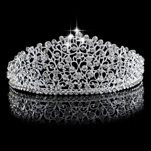 Silver Big Wedding Diamante Pageant Tiaras Hairband Crystal Bridal Crowns For Brides Hair Jewelry