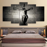 5 Pieces Wall Art Picture Jesus Statue Home Decoration Canvas Print Painting Living Room Printed