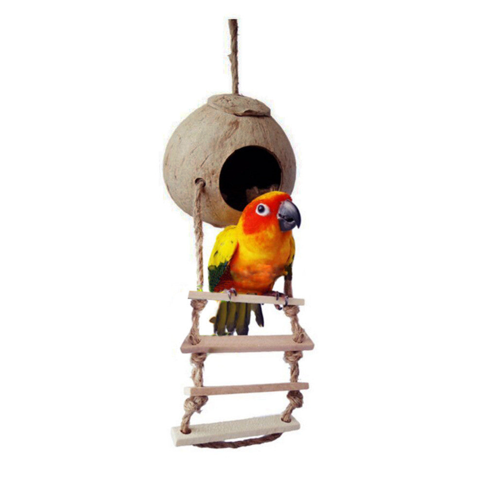 Natural Wooden Parrot Toys Coconut Shell Wood Handmade Parrot House Matching Ladder Bird Toys
