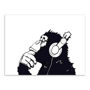 2 Pieces Canvas Paintings Hippie Chimpanzee Gorilla Couple Wall Art Picture Poster Printer