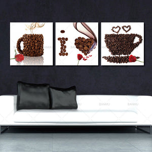 Wall Art 3 Pieces Wall Art Home Decor Flower Canvas Print Coffee Cup and Coffee Bean Canvas Restaurant Rose