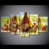 HD Printed 5 Pieces Canvas Art Native American Indian Riding Horses Painting Pictures