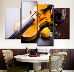 Canvas Wall Art Pictures Home Decor Living Room 4 Piece Guitar And Yellow Rose Red Wine HD Print Poster