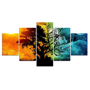 5 Pieces Landscape Tree Sky Wall Art Picture Home Decoration Canvas Print Painting Living Room