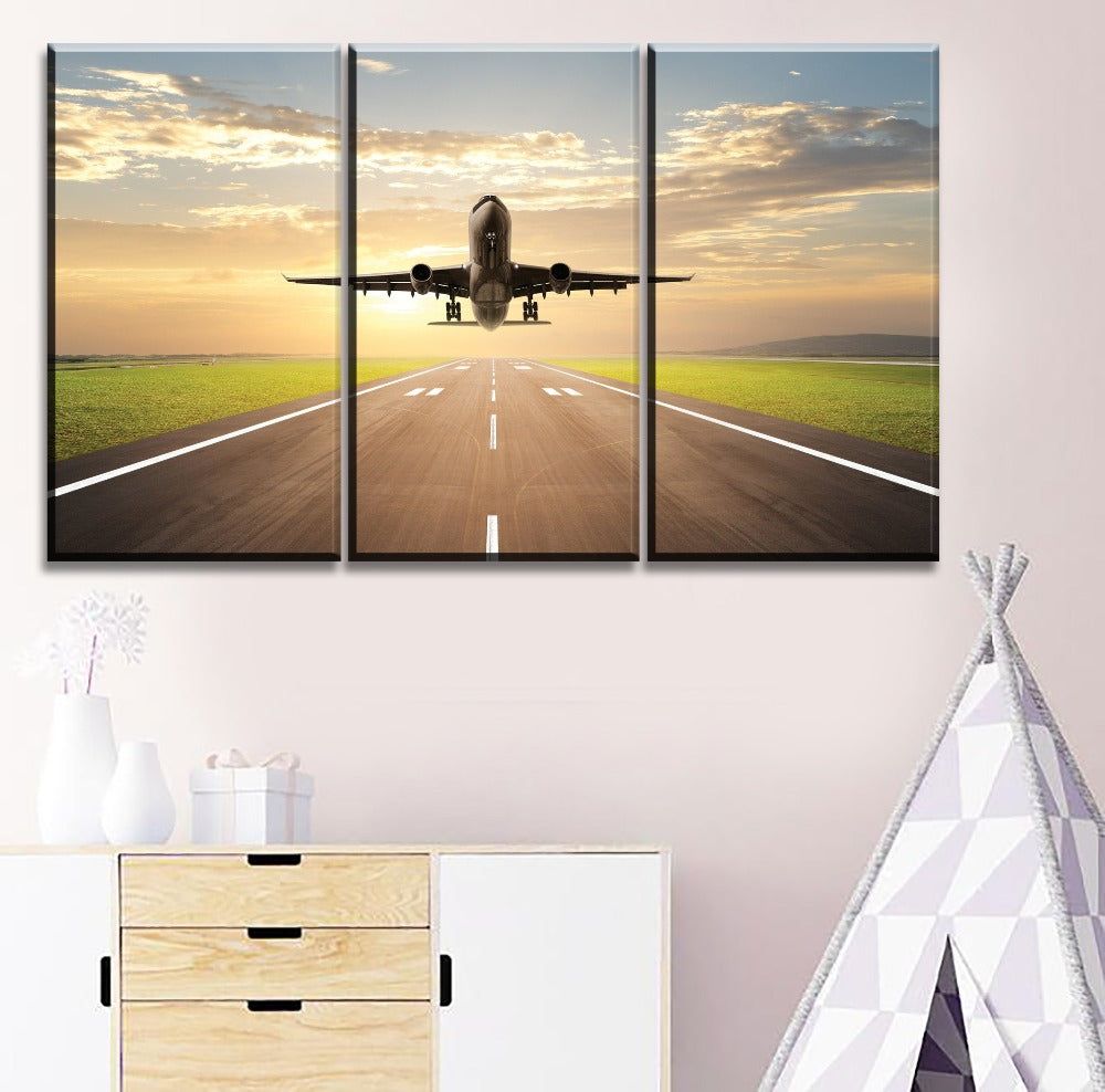 3 Piece Traffic Tools Airplane Picture Modern On The Decor Living Room Modular Art Style Poster HD Print