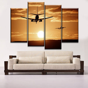 Home Decor Canvas Art Modular Picture 4 Panel Sun Sunset Cloud Traffic Tools Airplane Poster Modern