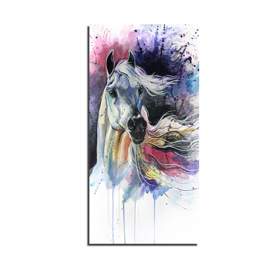 Canvas Print Picture Wall Art Framework 1 Piece White Dragon Horse Steed Colorful Painting Poster Modular Living Room