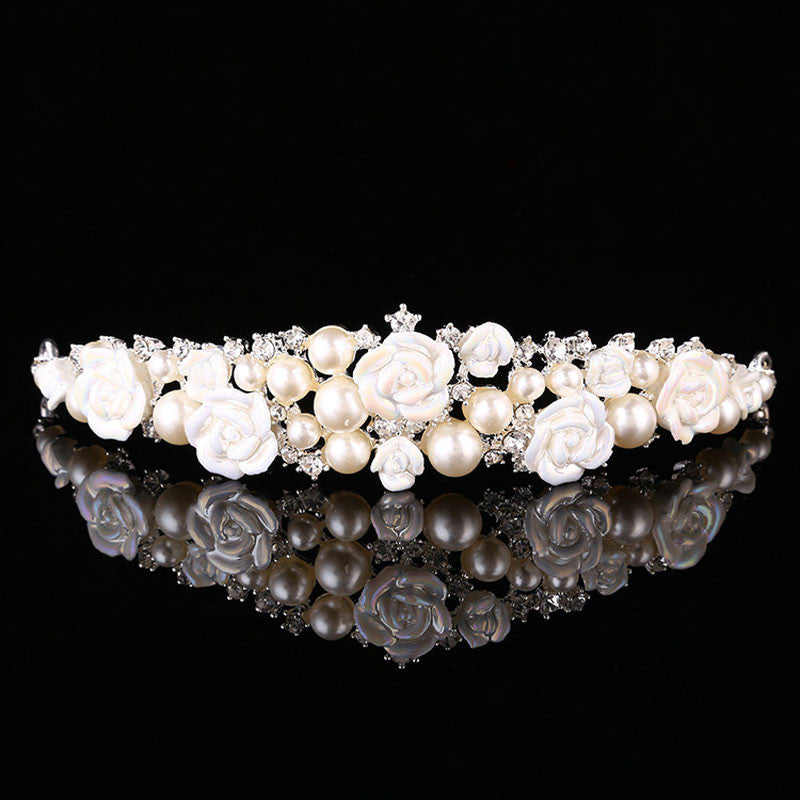 Pearl Crystal Tiaras Crowns Bridal Jewelry Wedding Accessory Hair Jewelry Princess Evening Party