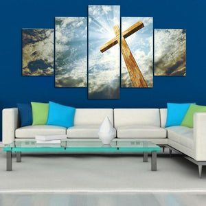 Wall Art Poster Modular Canvas HD Prints Paintings 5 Pieces Jesus Cross Cloudy Sky Pictures Home Decor