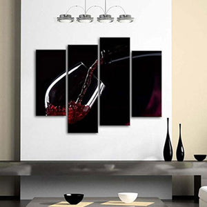 HD Canvas Home Decoration Art 4 Pieces Set Red Wine In The Glass Modern Paintings Wall Printed Modular
