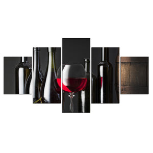 5 Pieces Wine Wine Cooler Pictures  Kitchen Living Room Painting Wall Art Picture Canvas