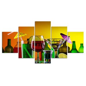 Wall Art Poster Modular Canvas HD Prints Paintings 5 Pieces Cocktail Cabinet Wine Party Pictures Home Decor