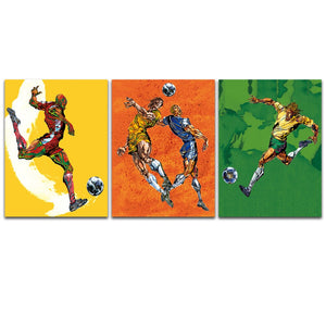 3 Piece Wall Art Canvas Print Painting Football Team Modern Picture Sports Playing Picture Home Decoration