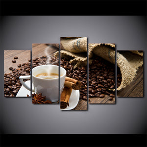 5 Pieces Canvas Painting Arabica Coffee Beans Drink HD Wall Art Canvas Prints Home Decoration