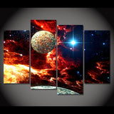 Canvas Painting 4 Panels Art Space Planets Stars Poster Home Decor Wall Pictures Living Room