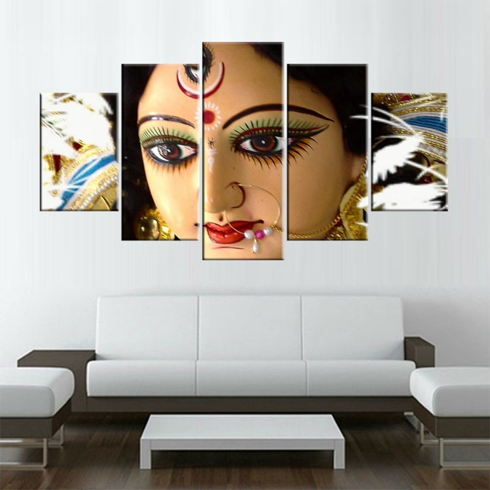 Canvas Wall Art Pictures 5 Pieces Hindu God Goddess Durga Paintings Living Room Prints Lord Poster