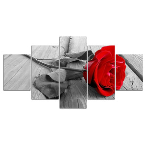 Modular Poster HD Prints Home Decor 5 Pieces Rose Red Blossom Canvas Paintings Wall Art Pictures