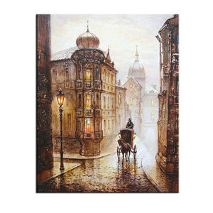 Oil Painting Home Decoration Coloring  Carriage Love Wall Pictures for Living Room