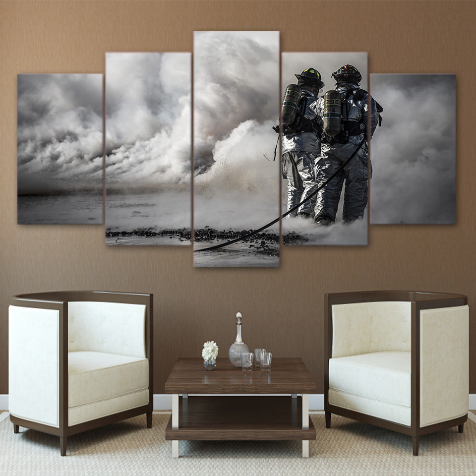 5 Pieces Wall Art Picture Gift Firefighter Home Decoration Canvas Print Painting Beautiful Living Room