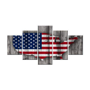 American Flag Map Canvas Patriotic USA Flag Painting Independence Day 5 Panels