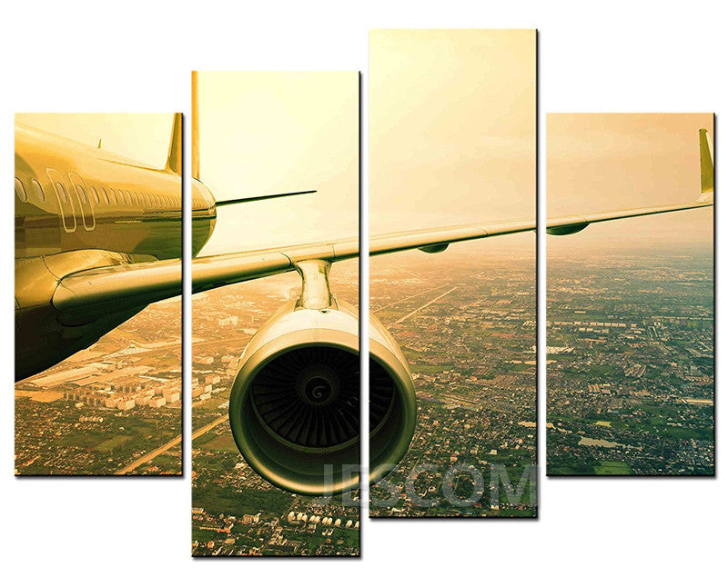 4 Piece Airplane Painting Aircraft Wing On Screen Seascape Canvas Painting Office Study Living Room