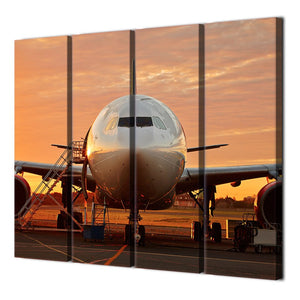 4 Piece Canvas Airplane Sunset Posters And Prints Wall Decorations Living Room Painting