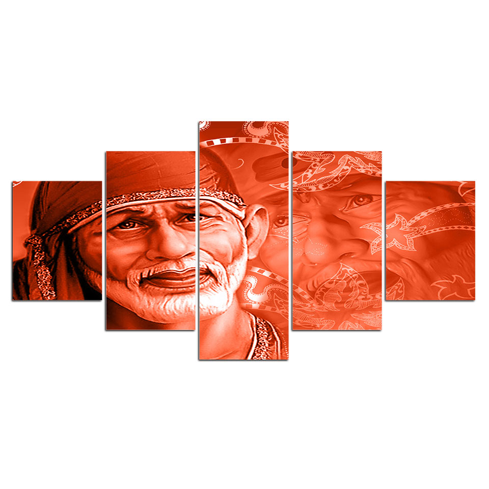Posters Prints 5 Piece Shirdi Sai Baba Canvas Art Hindu God Wall Art Painting Wall Pictures