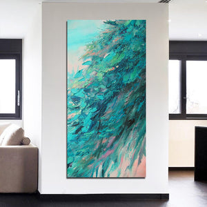 1 Piece Abstract Green Leaves Tree Painting Canvas Wall Art Huge Modern Printed Painting Canvas Decoration Living Room