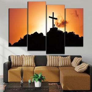 Canvas Painting HD Printing Type One Set Modular Style 4 Piece Sunset Hill Christianity Jesus Cross