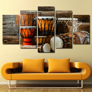 HD Printed 5 Piece Canvas Art Drum Painting Music Instrument Vintage Wall Picture Living Room