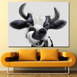 HD Printed 1 Piece Abstract Cows Canvas Painting Cattle Canvas Prints Posters Prints Home Decor