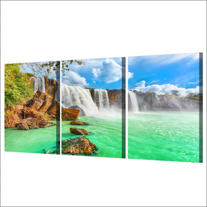 HD Printed 3 Piece Waterfall Landscape Green Lake Wall Art Canvas Painting Wall Pictures Living Room