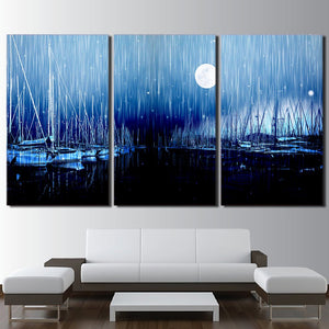 3 Piece Canvas Art Sailboats Moon Night Wall Art Painting Posters And Prints Wall Pictures