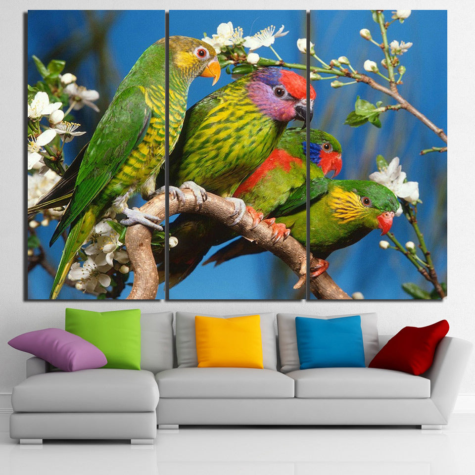 HD Printed 3 Piece Canvas Art Green Parrots On The Tree Wall Pictures Living Room Modern