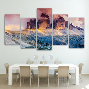 HD Print 5 Piece Canvas Art Fog Austria Mountain Sunset Painting Wall Pictures Living Room