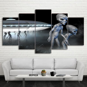 HD Printed 5 Piece Canvas Art Alien UFO Painting Wall Pictures Living Room