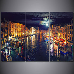 3 Pcs Canvas Art Italy Venice Canal Poster HD Printed Wall Art Home Decor Painting Picture Prints