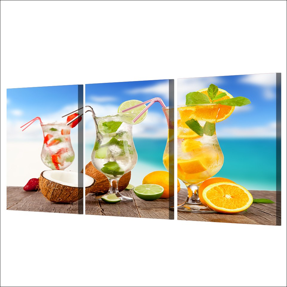 HD Printed 3 Piece Canvas Art Fruit Cold Drink Painting Tropical Seascape Wall Pictures Living Room
