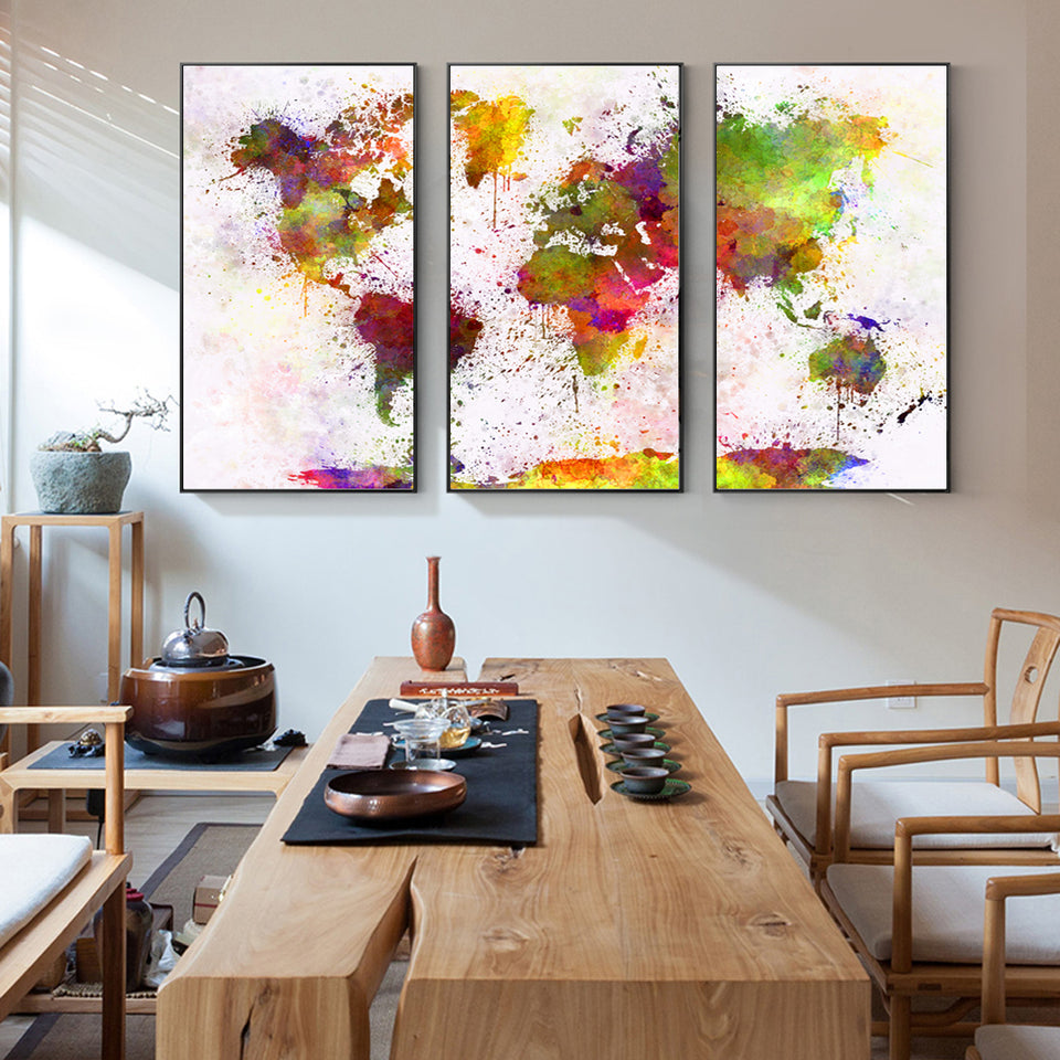 3 Pieces Watercolor World Map Posters And Prints Modern Colorful Map Pop Wall Graffiti Art Canvas Modular Picture