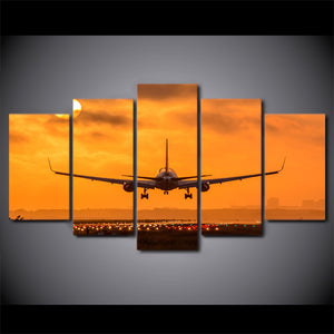 HD Printed 5 Pieces Canvas Art Painting Sunset Airplane Take Off Poster Wall Pictures Home Decoration
