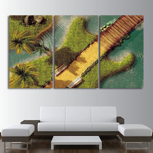 3 Piece Canvas Wall Art HD Printed Guitar Tree Bridge Resort Painting Room Decor Print Poster