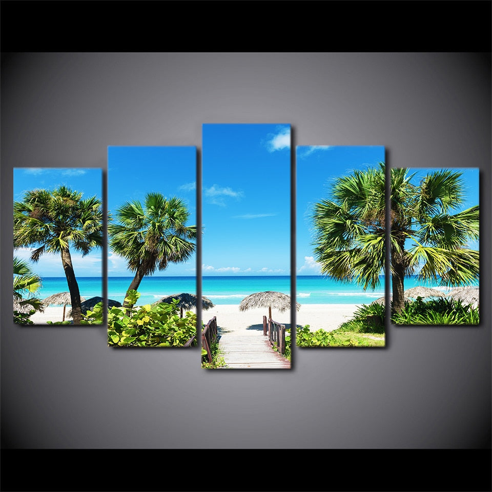 HD Printed 5 Piece Canvas Art Beach Seascape Painting Coconut Grove Wall Pictures Modular Painting