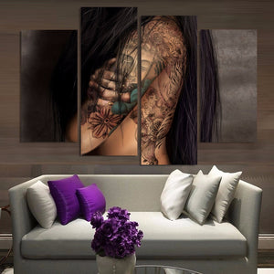 HD Printed 4 Piece Canvas Art Girl Tattoo Painting On Canvas Room Decoration