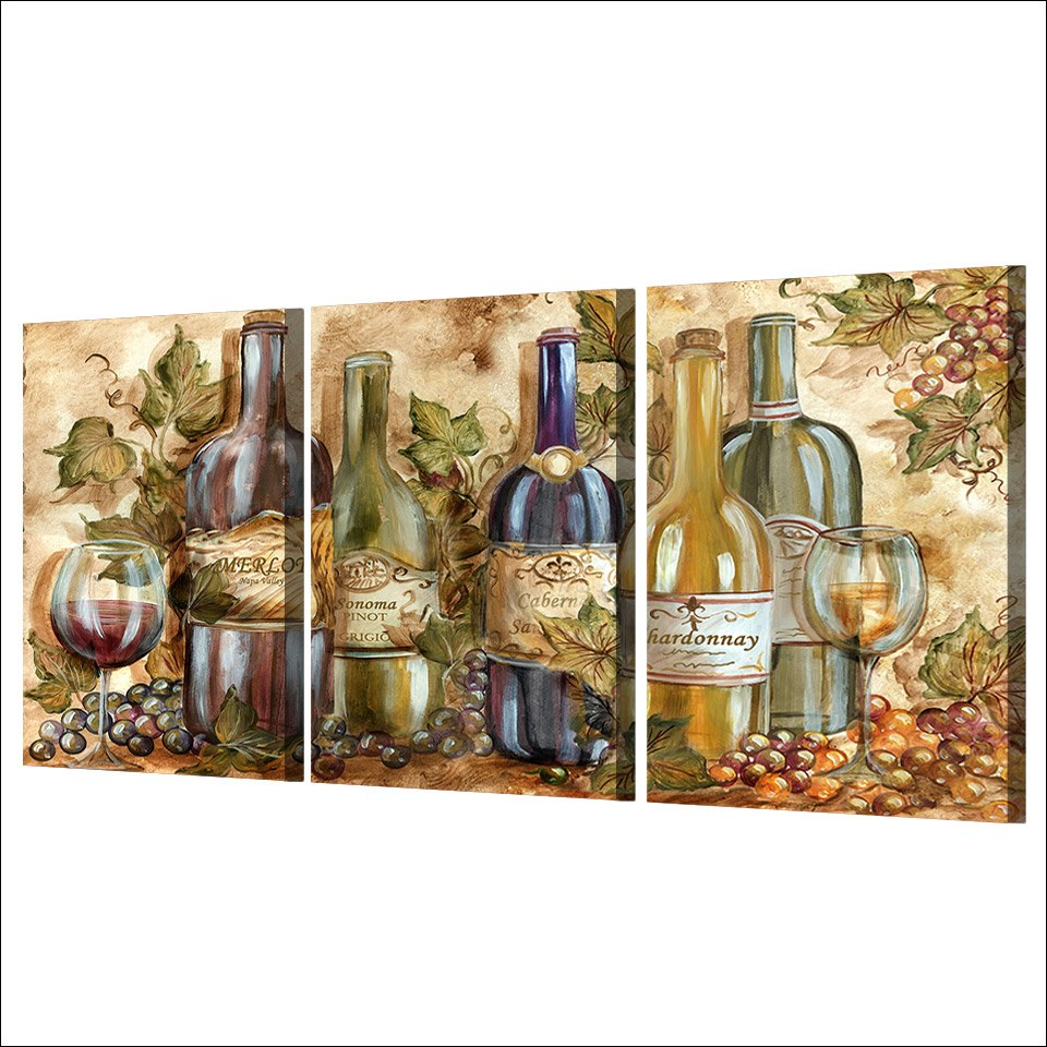 HD Printed 3 Piece Canvas Painting Abstract Paintings Bottle Wine Wall Pictures Living Room