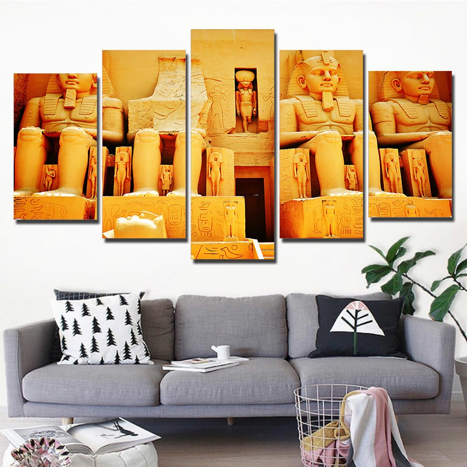 HD Printed 5 Pieces Painting Ancient Egypt Pyramid Culture Pictures