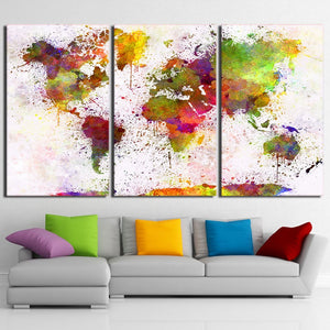 HD Printed 3 Piece Canvas Art Color World Map Painting Continent Wall Pictures for Living Room Decor