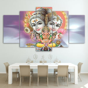 HD Printed 5 Piece Canvas Art Hindu God Canvas Lord Shiva Parvati Ganesh Painting